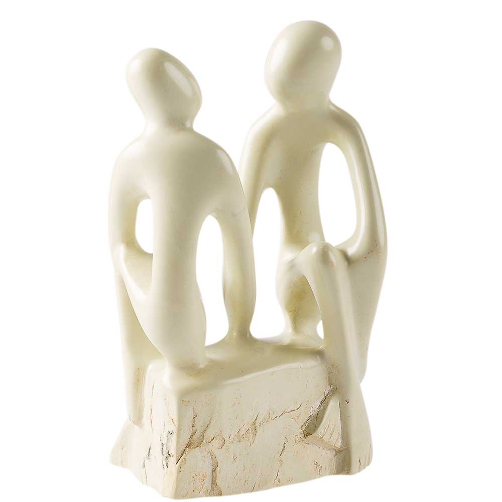 Fair Trade-Skulptur ''Liebende'' aus Speckstein von Smolart Self Help Group